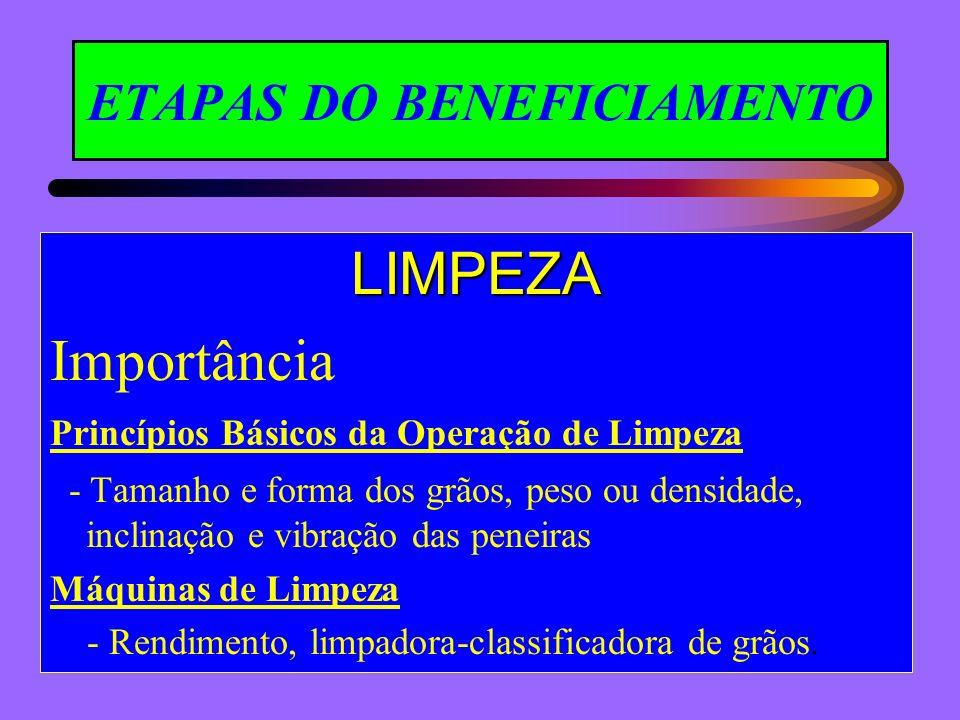 ETAPAS DO BENEFICIAMENTO LIMPEZA Importância Princípios Básicos da Operação de Limpeza - Tamanho e forma dos grãos, peso ou densidade, inclinação e vi