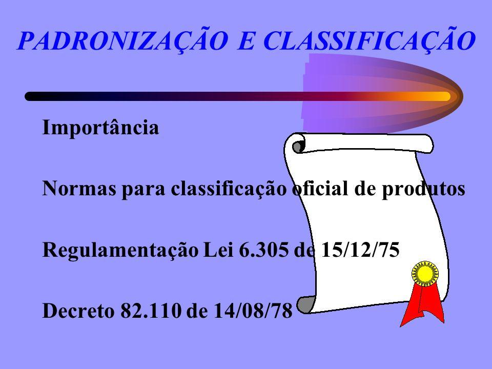 PADRONIZAÇÃO E CLASSIFICAÇÃO Importância Normas para classificação oficial de produtos Regulamentação Lei 6.305 de 15/12/75 Decreto 82.110 de 14/08/78