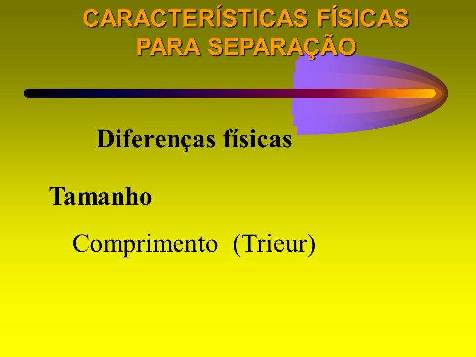 CARACTERÍSTICAS FÍSICAS PARA SEPARAÇÃO Diferenças físicas Tamanho Comprimento (Trieur)