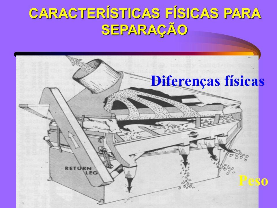 CARACTERÍSTICAS FÍSICAS PARA SEPARAÇÃO Diferenças físicas Peso