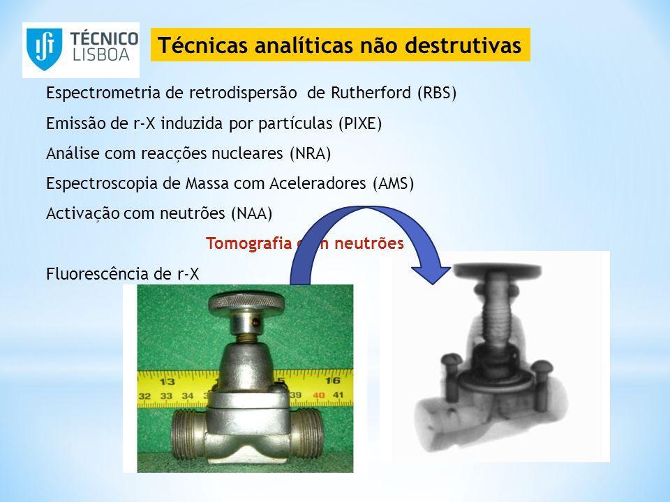 Técnicas analíticas não destrutivas Espectrometria de retrodispersão de Rutherford (RBS) Emissão de r-X induzida por partículas (PIXE) Análise com rea