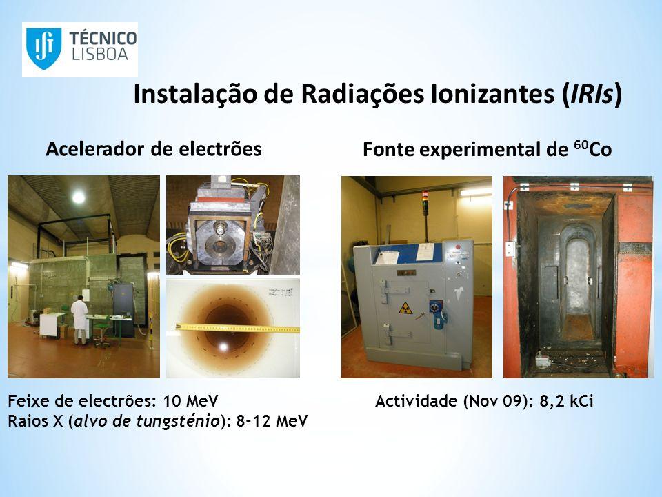 Actividade (Nov 09): 8,2 kCi Acelerador de electrões Fonte experimental de 60 Co Feixe de electrões: 10 MeV Raios X (alvo de tungsténio): 8-12 MeV Ins