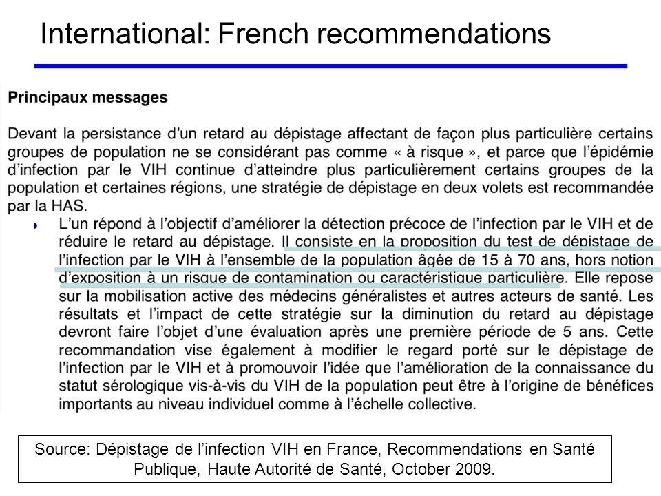International: French recommendations Source: Dépistage de linfection VIH en France, Recommendations en Santé Publique, Haute Autorité de Santé, Octob