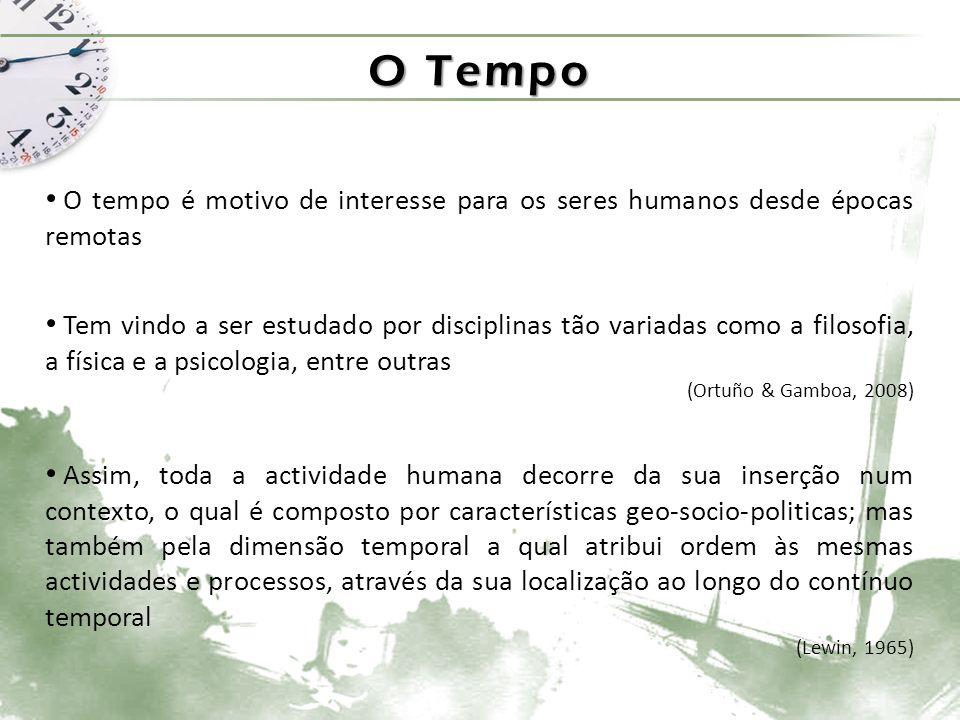 O Tempo O tempo é motivo de interesse para os seres humanos desde épocas remotas Tem vindo a ser estudado por disciplinas tão variadas como a filosofia, a física e a psicologia, entre outras (Ortuño & Gamboa, 2008) Assim, toda a actividade humana decorre da sua inserção num contexto, o qual é composto por características geo-socio-politicas; mas também pela dimensão temporal a qual atribui ordem às mesmas actividades e processos, através da sua localização ao longo do contínuo temporal (Lewin, 1965)