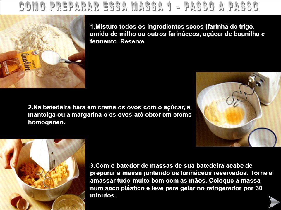 COMO PREPARAR ESSA MASSA 1 – PASSO A PASSO 1.Misture todos os ingredientes secos (farinha de trigo, amido de milho ou outros farináceos, açúcar de bau