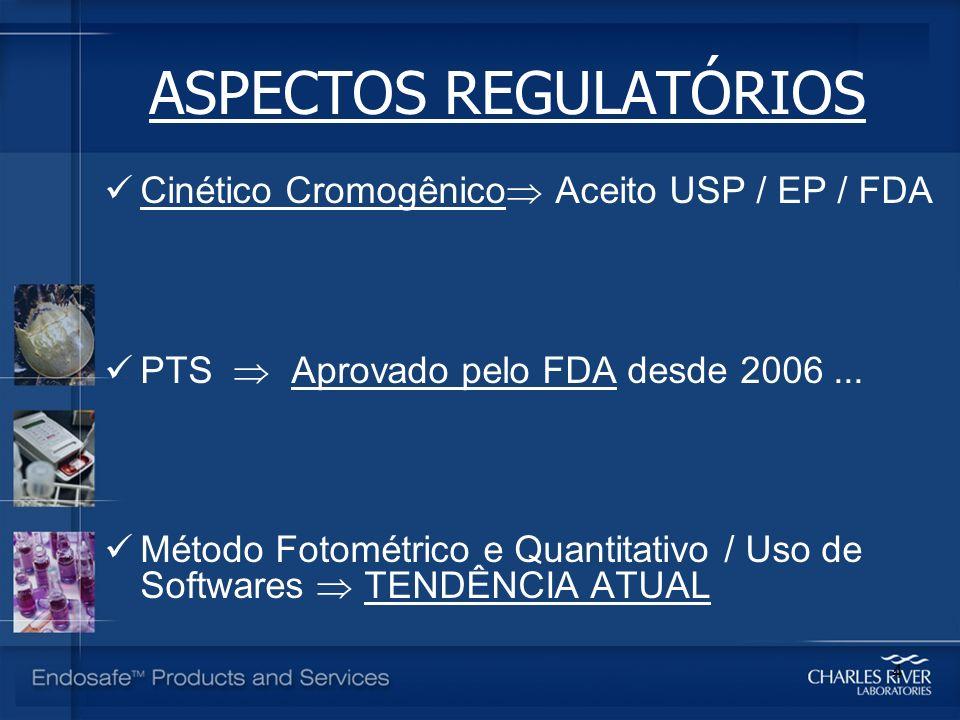 ASPECTOS REGULATÓRIOS Cinético Cromogênico Aceito USP / EP / FDA PTS Aprovado pelo FDA desde 2006... Método Fotométrico e Quantitativo / Uso de Softwa
