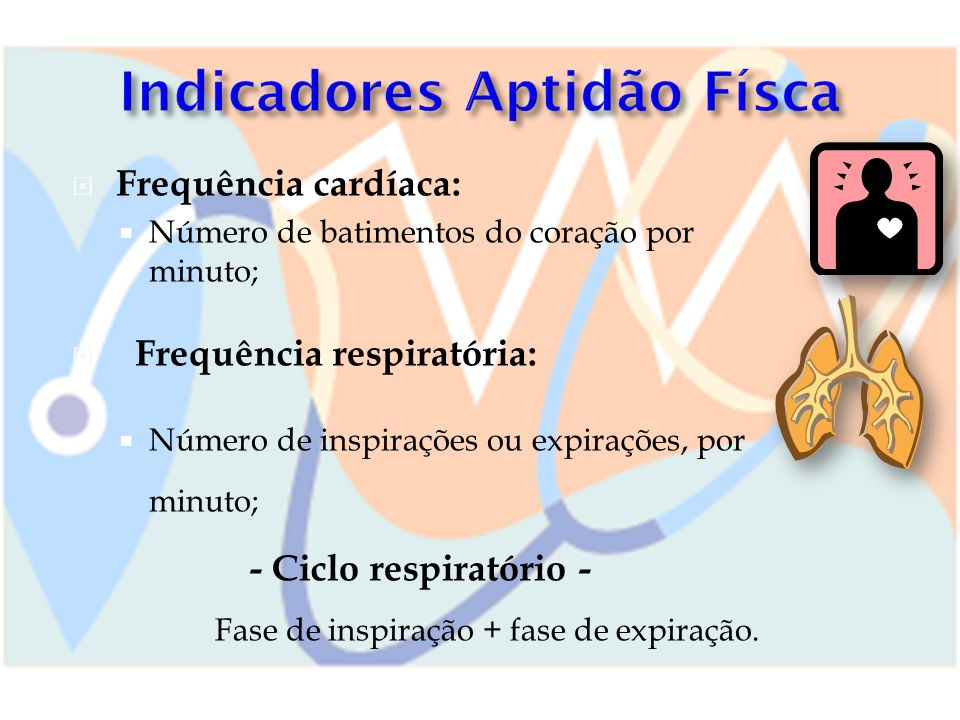Frequência cardíaca: Número de batimentos do coração por minuto; Frequência respiratória: Número de inspirações ou expirações, por minuto; - Ciclo res