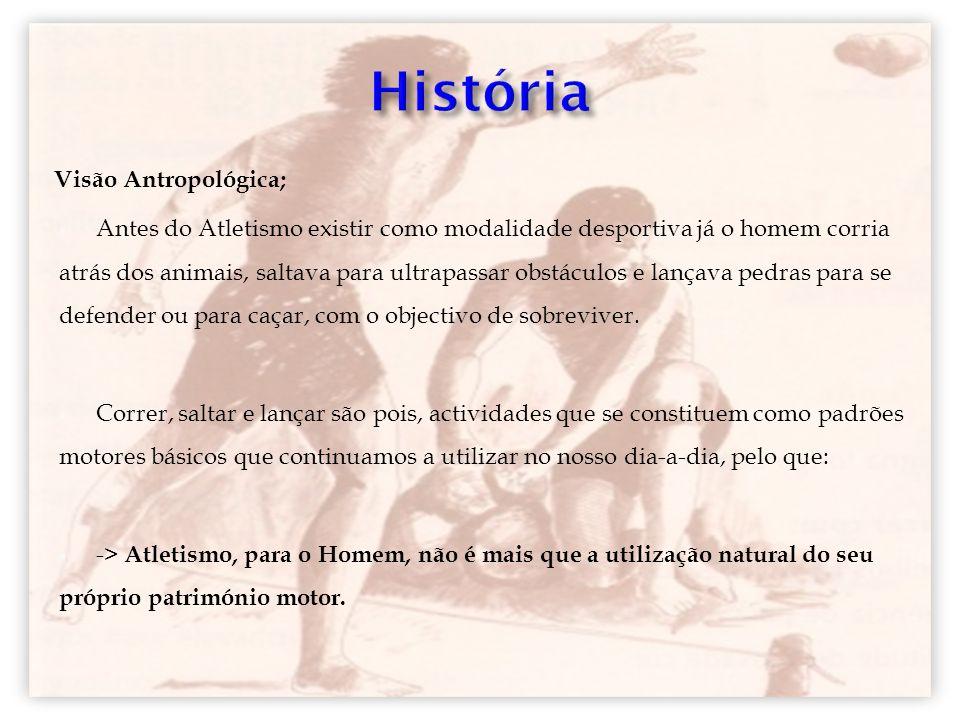 Visão Antropológica; Antes do Atletismo existir como modalidade desportiva já o homem corria atrás dos animais, saltava para ultrapassar obstáculos e