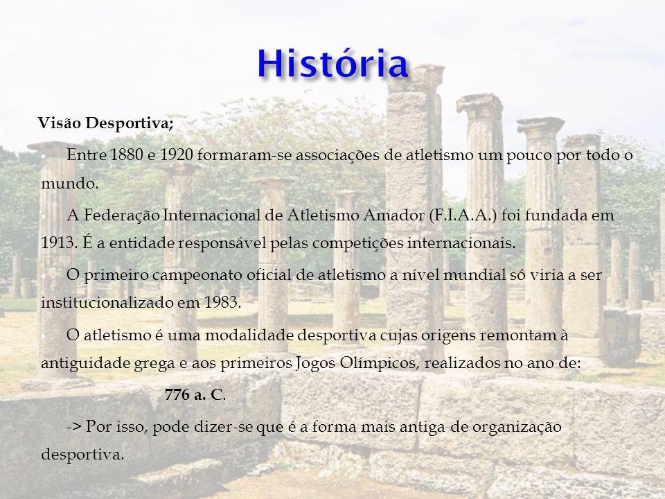 Visão Desportiva; Entre 1880 e 1920 formaram-se associações de atletismo um pouco por todo o mundo. A Federação Internacional de Atletismo Amador (F.I