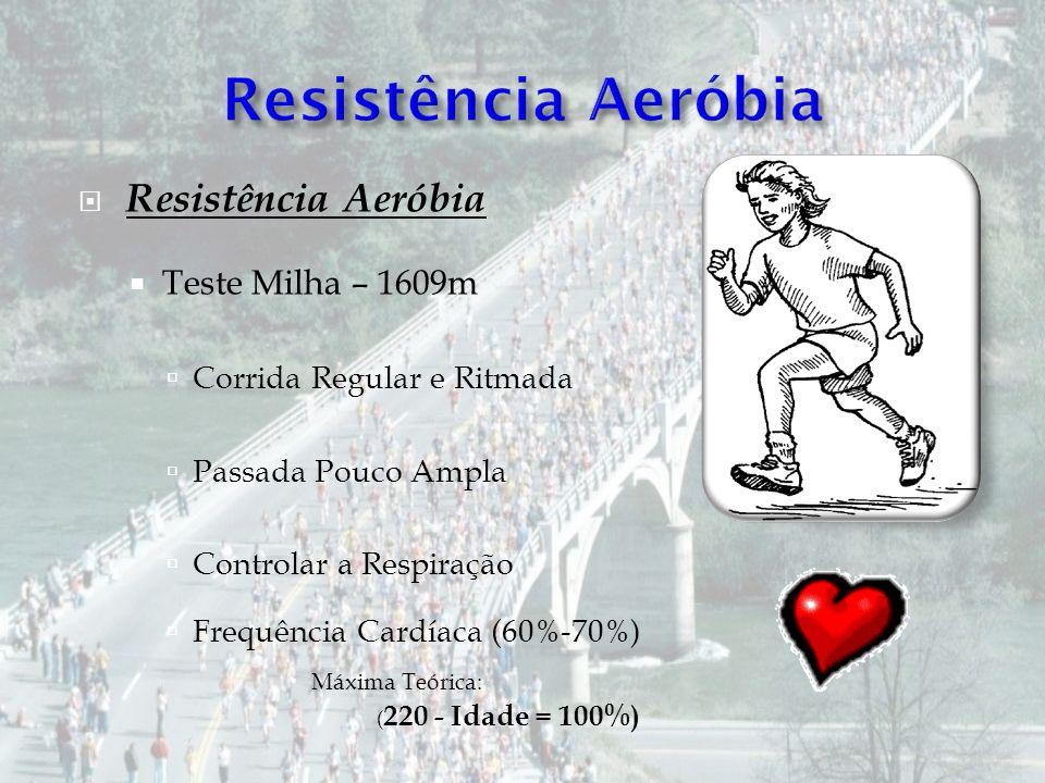 Resistência Aeróbia Teste Milha – 1609m Corrida Regular e Ritmada Passada Pouco Ampla Controlar a Respiração Frequência Cardíaca (60%-70%) Máxima Teór