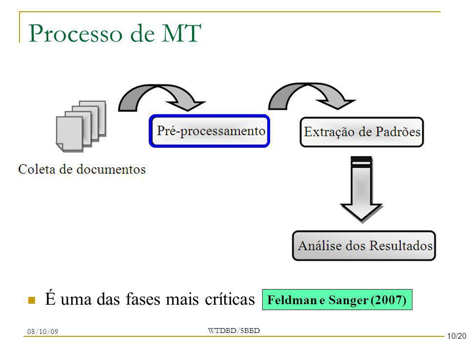 Processo de MT WTDBD/SBBD 08/10/09 É uma das fases mais críticas Feldman e Sanger (2007) 10/20
