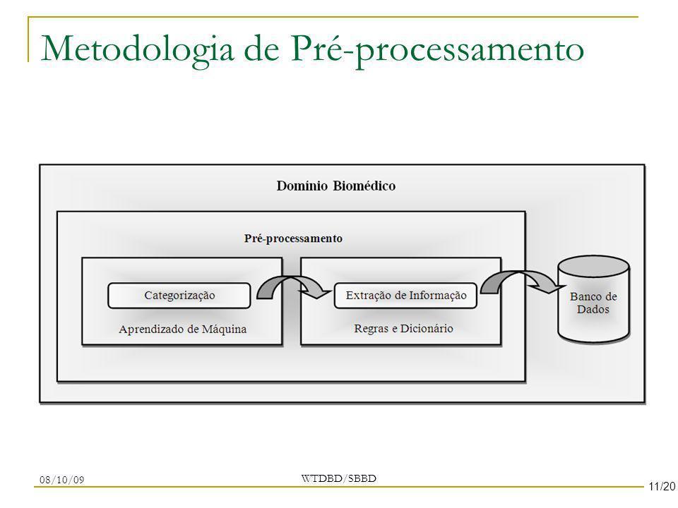 Metodologia de Pré-processamento WTDBD/SBBD 08/10/09 11/20