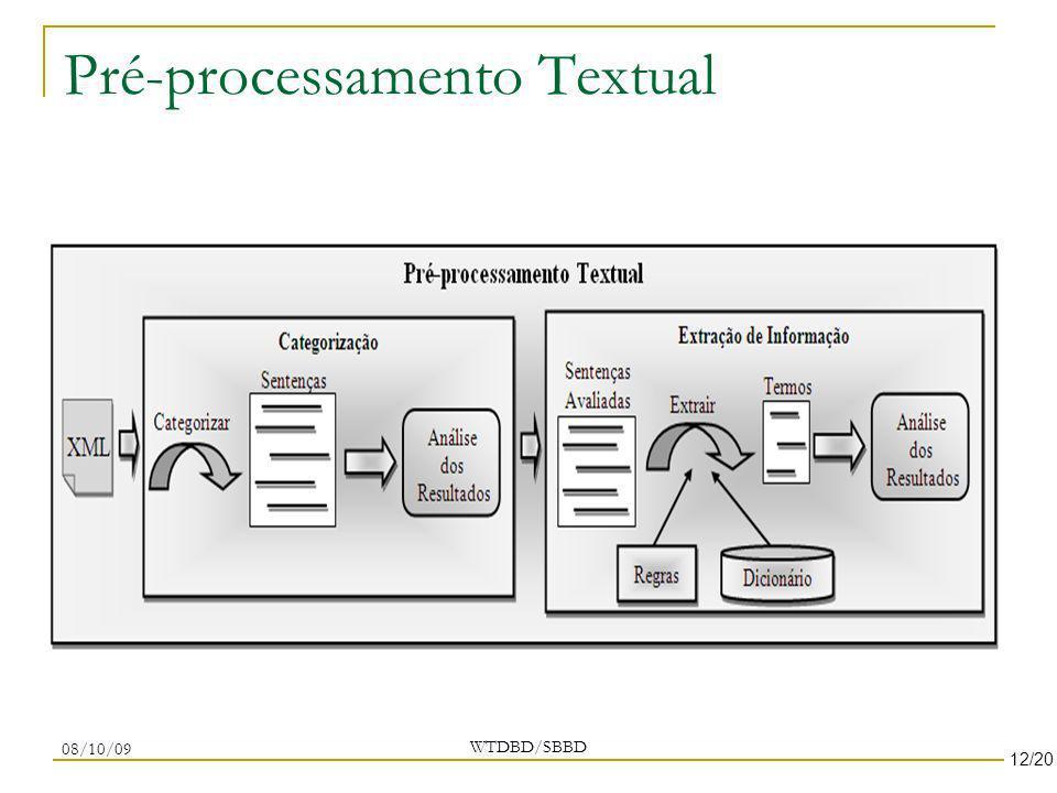 Pré-processamento Textual WTDBD/SBBD 08/10/09 12/20