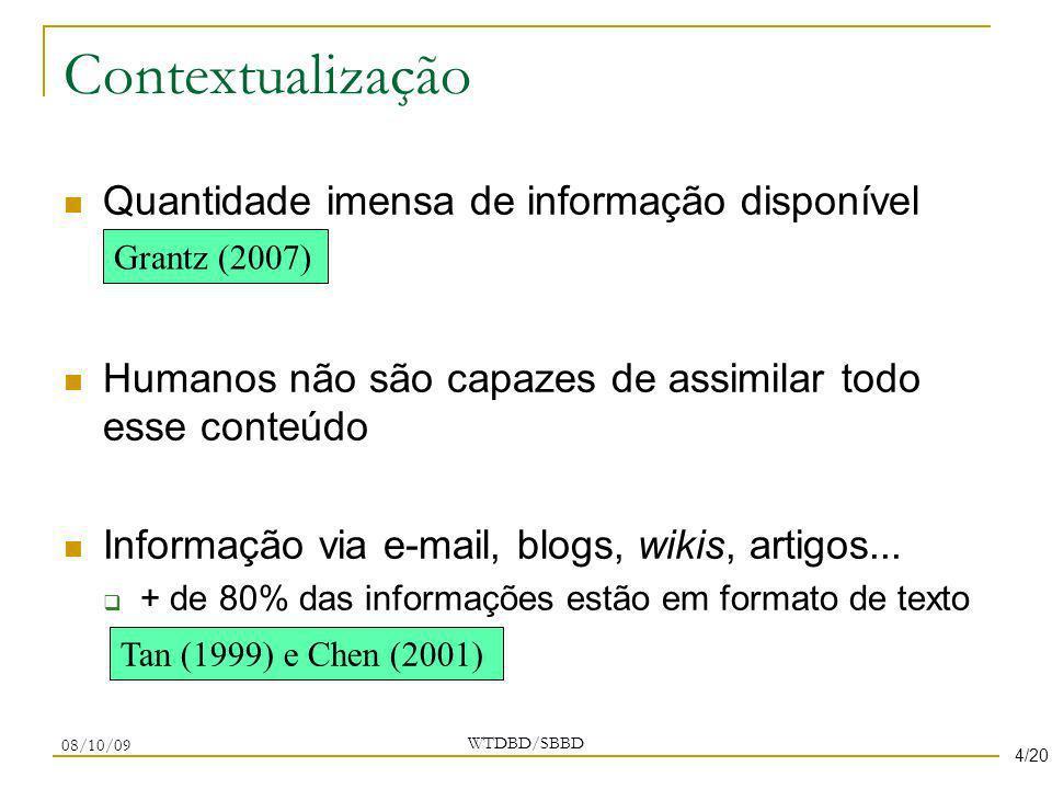 Contextualização Quantidade imensa de informação disponível Humanos não são capazes de assimilar todo esse conteúdo Informação via e-mail, blogs, wiki