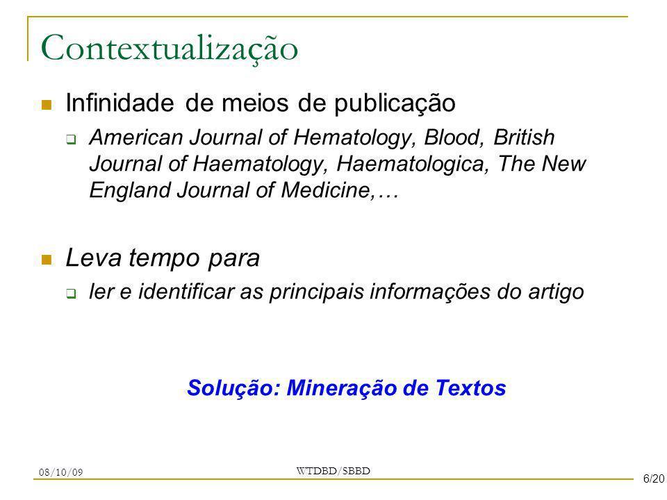 Contextualização Infinidade de meios de publicação American Journal of Hematology, Blood, British Journal of Haematology, Haematologica, The New Engla