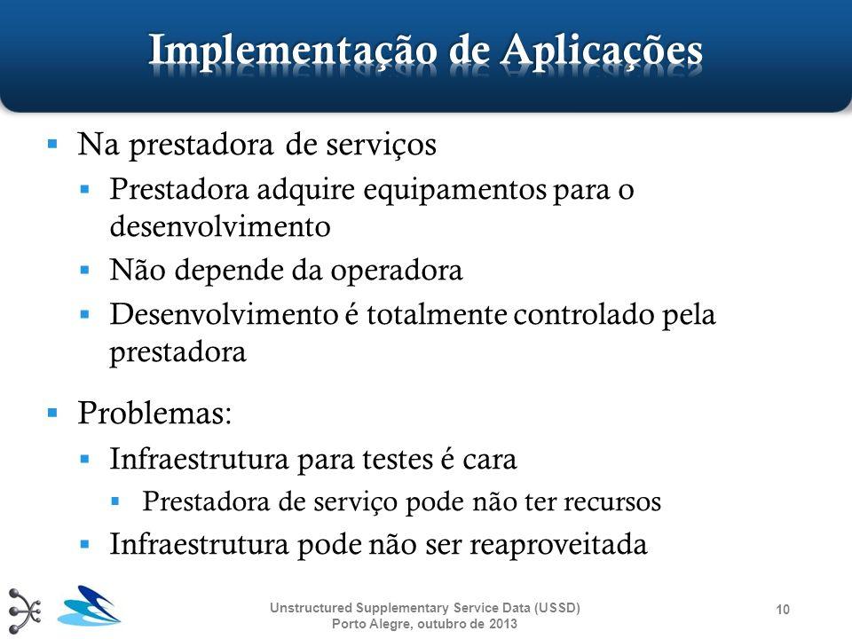Na prestadora de serviços Prestadora adquire equipamentos para o desenvolvimento Não depende da operadora Desenvolvimento é totalmente controlado pela