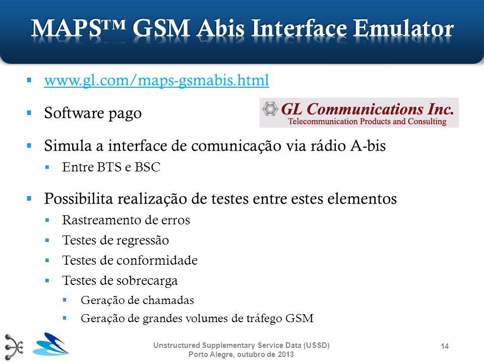 www.gl.com/maps-gsmabis.html Software pago Simula a interface de comunicação via rádio A-bis Entre BTS e BSC Possibilita realização de testes entre es