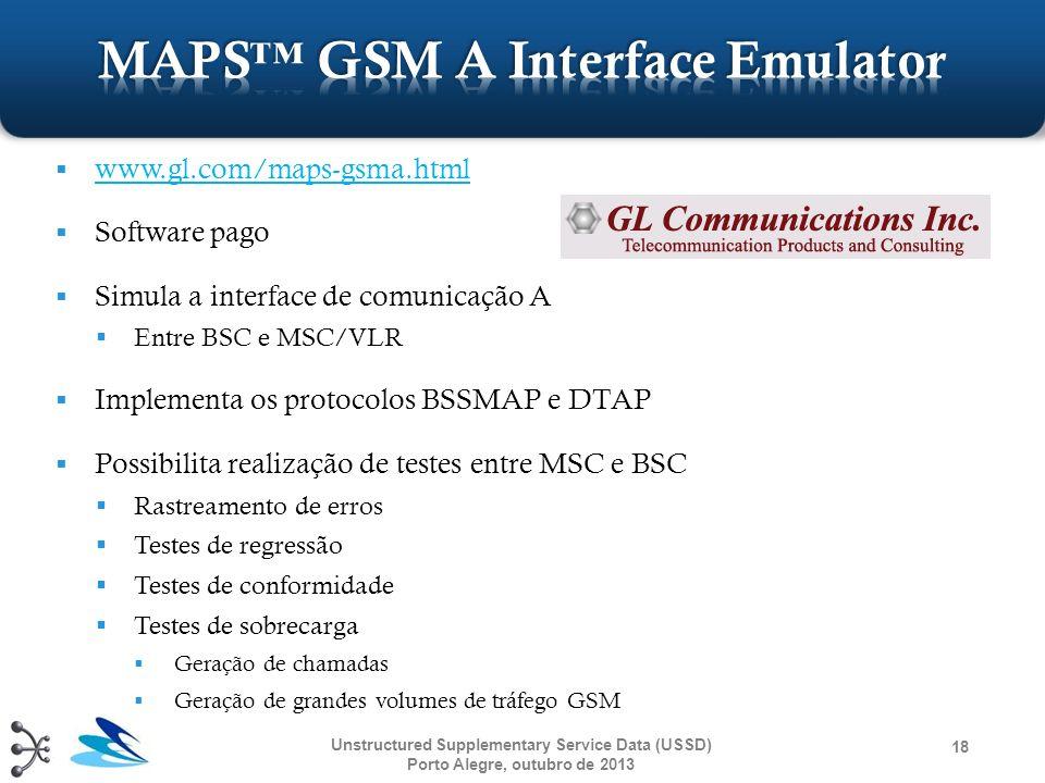 www.gl.com/maps-gsma.html Software pago Simula a interface de comunicação A Entre BSC e MSC/VLR Implementa os protocolos BSSMAP e DTAP Possibilita rea