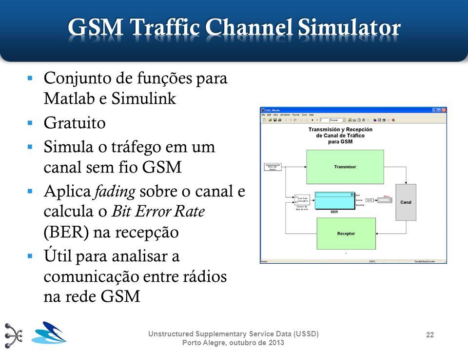 Conjunto de funções para Matlab e Simulink Gratuito Simula o tráfego em um canal sem fio GSM Aplica fading sobre o canal e calcula o Bit Error Rate (B