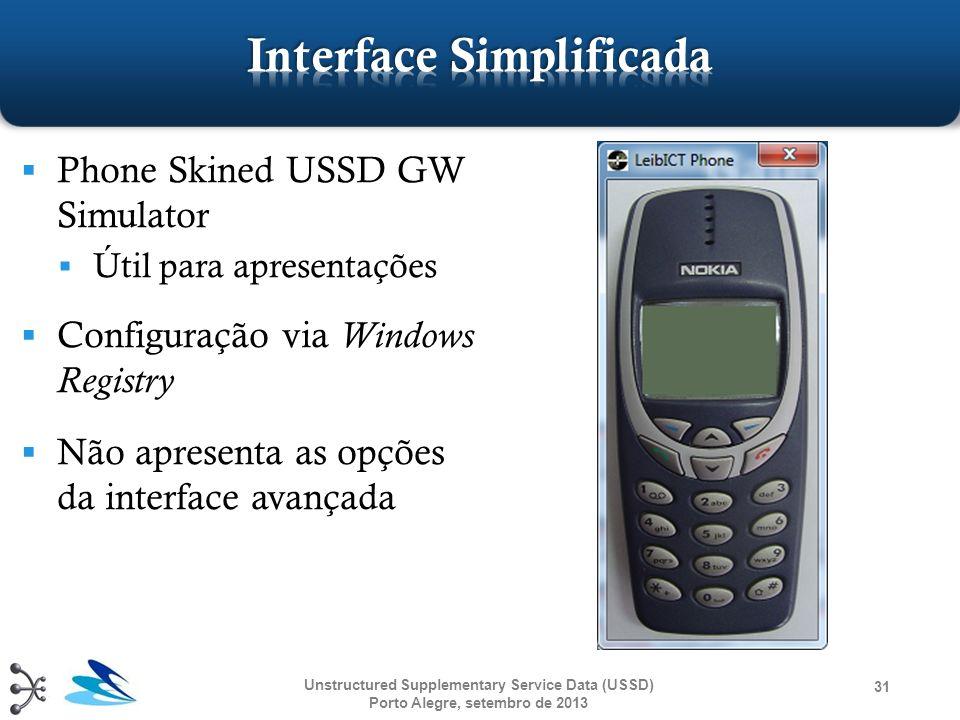 Phone Skined USSD GW Simulator Útil para apresentações Configuração via Windows Registry Não apresenta as opções da interface avançada Unstructured Su
