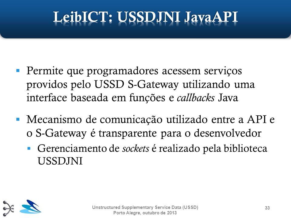 Permite que programadores acessem serviços providos pelo USSD S-Gateway utilizando uma interface baseada em funções e callbacks Java Mecanismo de comu