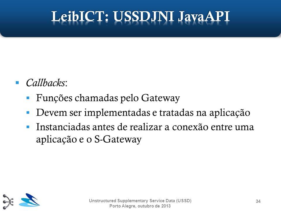 Unstructured Supplementary Service Data (USSD) Porto Alegre, outubro de 2013 34 Callbacks : Funções chamadas pelo Gateway Devem ser implementadas e tr
