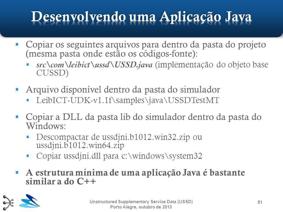 Copiar os seguintes arquivos para dentro da pasta do projeto (mesma pasta onde estão os códigos-fonte): src\com\leibict\ussd\USSD.java (implementação