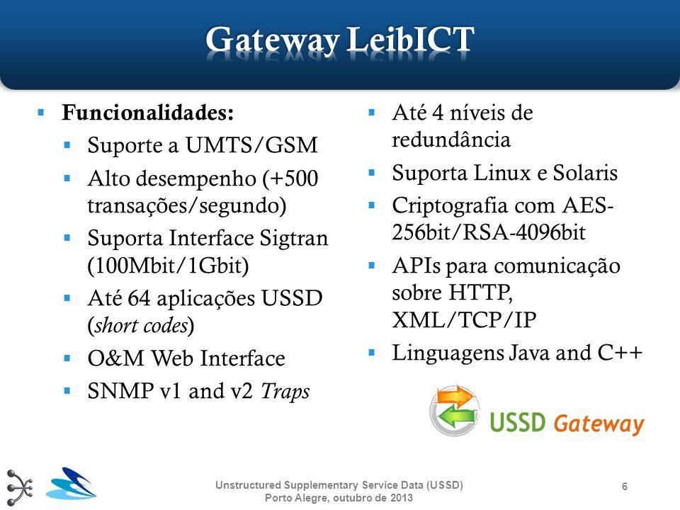 Gateways USSD disponíveis Simuladores GSM, SMPP e USSD Simulação com Gateway LeibICT Desenvolvendo uma aplicação 7 Unstructured Supplementary Service Data (USSD) Porto Alegre, outubro de 2013