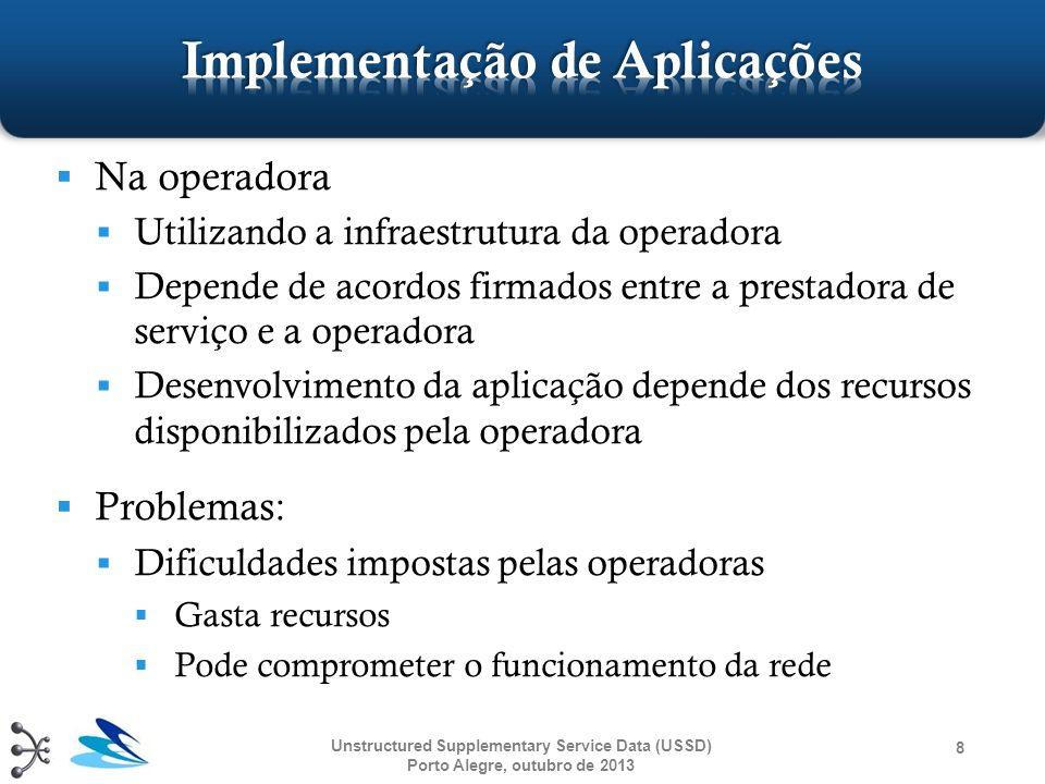 Unstructured Supplementary Service Data (USSD) Porto Alegre, outubro de 2013 39 USSD S-GatewayAplicação USSDUsuário Mobile ussd_request process_ussd_request ussd_end cb_ussd_service process_ussd_request ussd_response cb_ussd_response