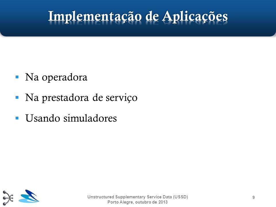 Unstructured Supplementary Service Data (USSD) Porto Alegre, outubro de 2013 40 USSD S-GatewayAplicação USSDMobile User ussd_begin ussd_request ussd_response ussd_end cb_ussd_response process_ussd_request