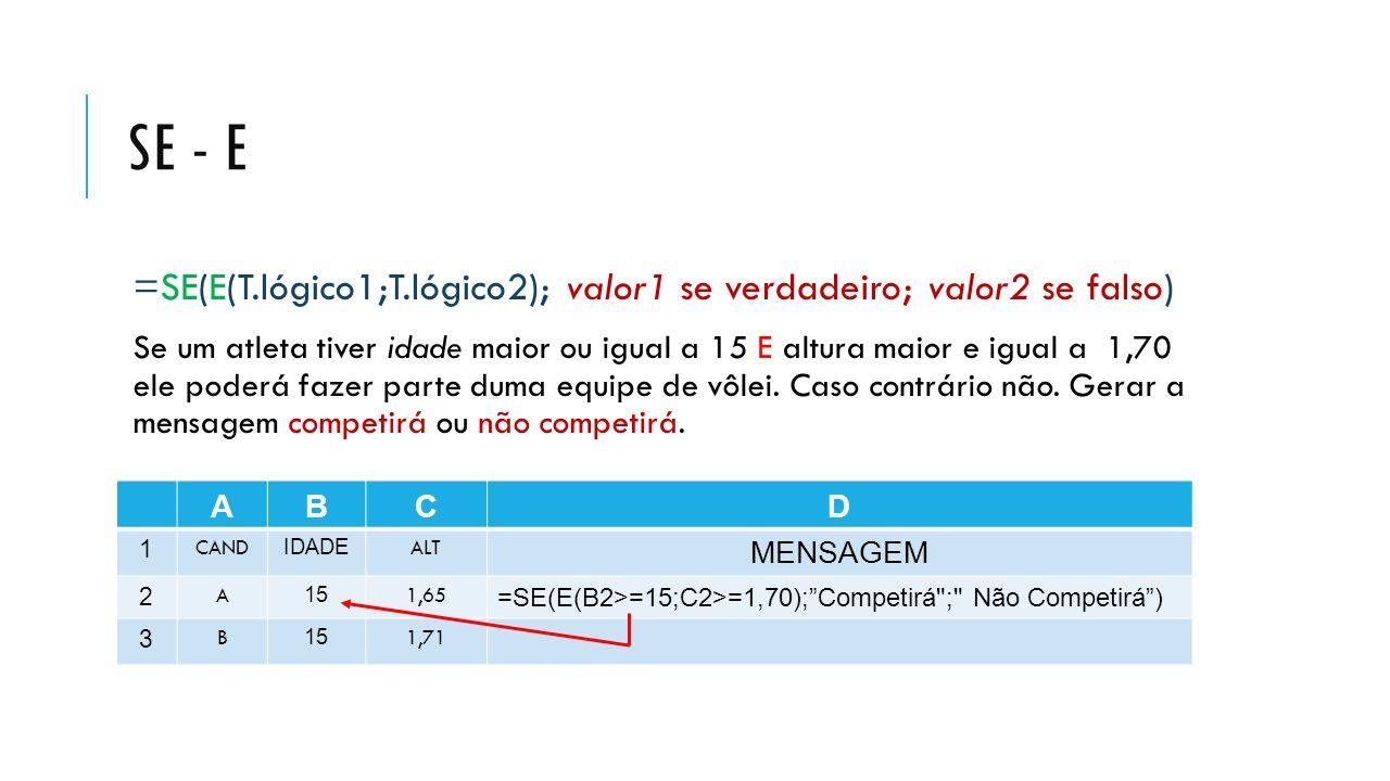 SE - E =SE(E(T.lógico1;T.lógico2); valor1 se verdadeiro; valor2 se falso) Se um atleta tiver idade maior ou igual a 15 E altura maior e igual a 1,70 e