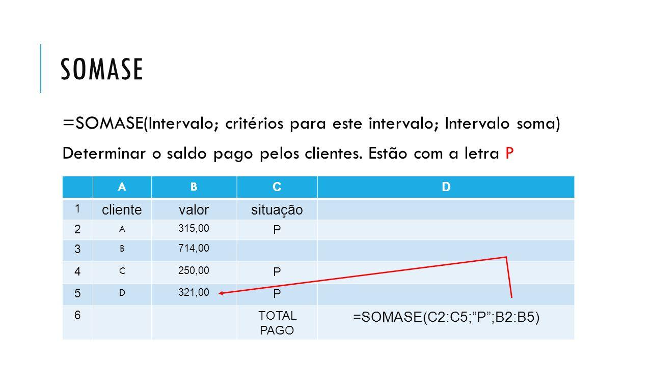SOMASE =SOMASE(Intervalo; critérios para este intervalo; Intervalo soma) Determinar o saldo pago pelos clientes. Estão com a letra P AB CD 1 clienteva