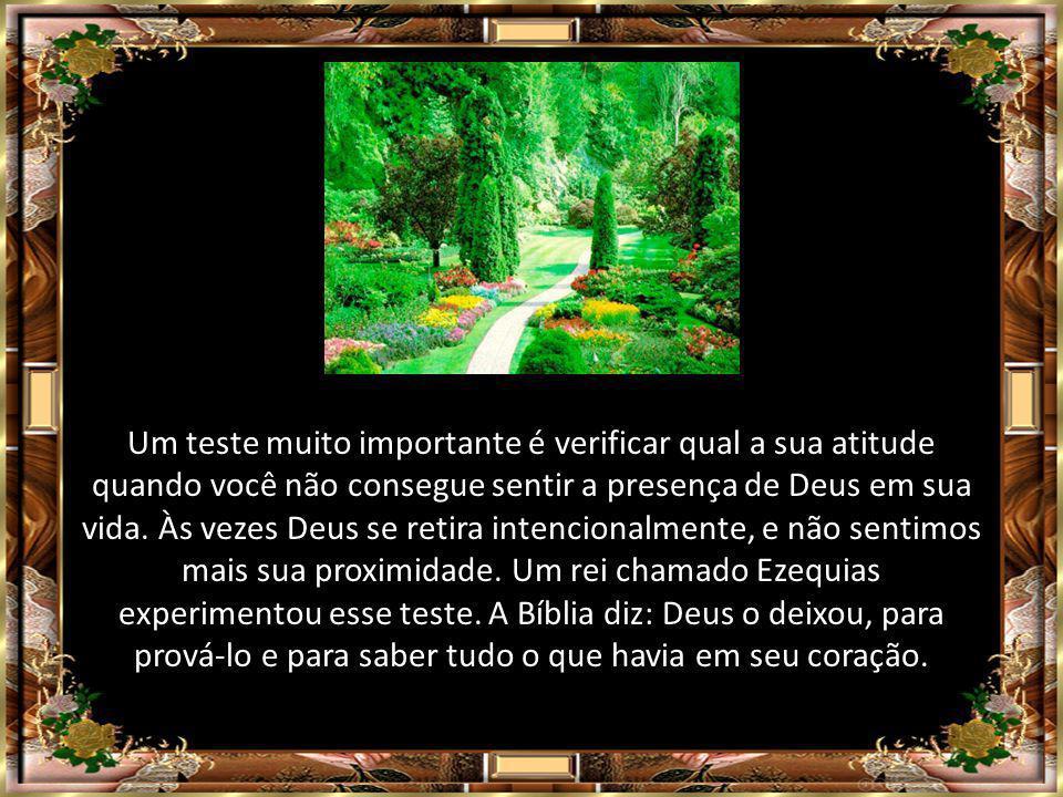 Um teste muito importante é verificar qual a sua atitude quando você não consegue sentir a presença de Deus em sua vida.