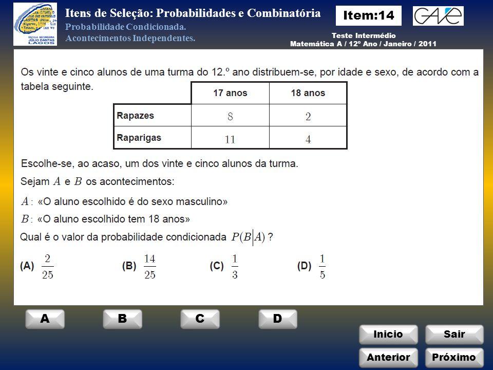 InicioSair AnteriorPróximo ABCD Itens de Seleção: Probabilidades e Combinatória Probabilidade Condicionada.