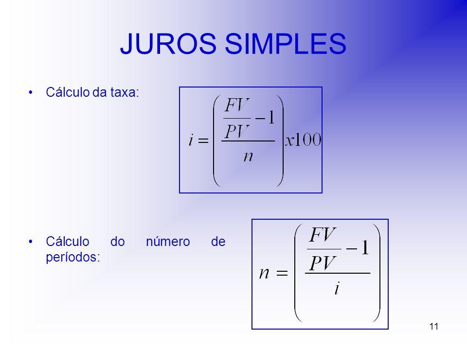 11 JUROS SIMPLES Cálculo da taxa: Cálculo do número de períodos: