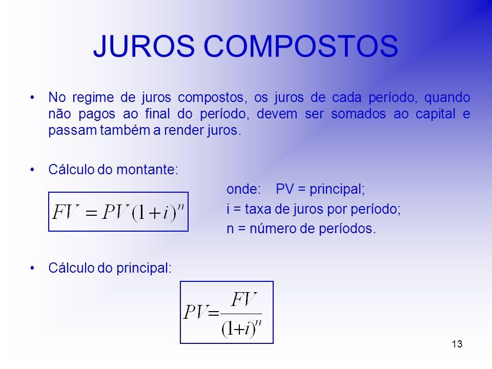 13 JUROS COMPOSTOS No regime de juros compostos, os juros de cada período, quando não pagos ao final do período, devem ser somados ao capital e passam também a render juros.