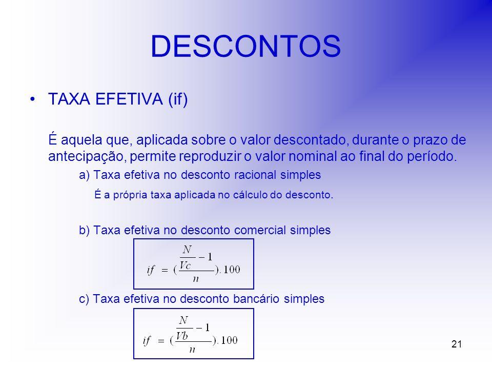 21 DESCONTOS TAXA EFETIVA (if) É aquela que, aplicada sobre o valor descontado, durante o prazo de antecipação, permite reproduzir o valor nominal ao final do período.