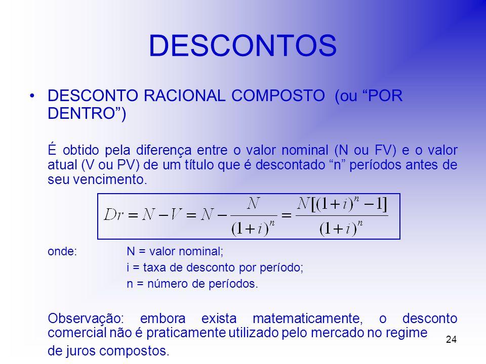 24 DESCONTOS DESCONTO RACIONAL COMPOSTO (ou POR DENTRO) É obtido pela diferença entre o valor nominal (N ou FV) e o valor atual (V ou PV) de um título que é descontado n períodos antes de seu vencimento.