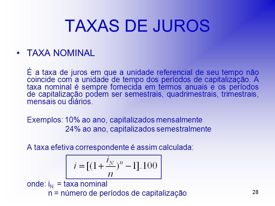 28 TAXAS DE JUROS TAXA NOMINAL É a taxa de juros em que a unidade referencial de seu tempo não coincide com a unidade de tempo dos períodos de capitalização.