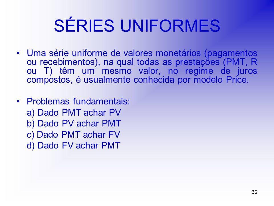 32 SÉRIES UNIFORMES Uma série uniforme de valores monetários (pagamentos ou recebimentos), na qual todas as prestações (PMT, R ou T) têm um mesmo valor, no regime de juros compostos, é usualmente conhecida por modelo Price.