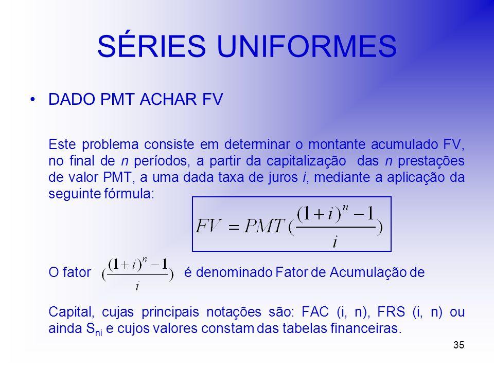 35 SÉRIES UNIFORMES DADO PMT ACHAR FV Este problema consiste em determinar o montante acumulado FV, no final de n períodos, a partir da capitalização das n prestações de valor PMT, a uma dada taxa de juros i, mediante a aplicação da seguinte fórmula: O fator é denominado Fator de Acumulação de Capital, cujas principais notações são: FAC (i, n), FRS (i, n) ou ainda S ni e cujos valores constam das tabelas financeiras.