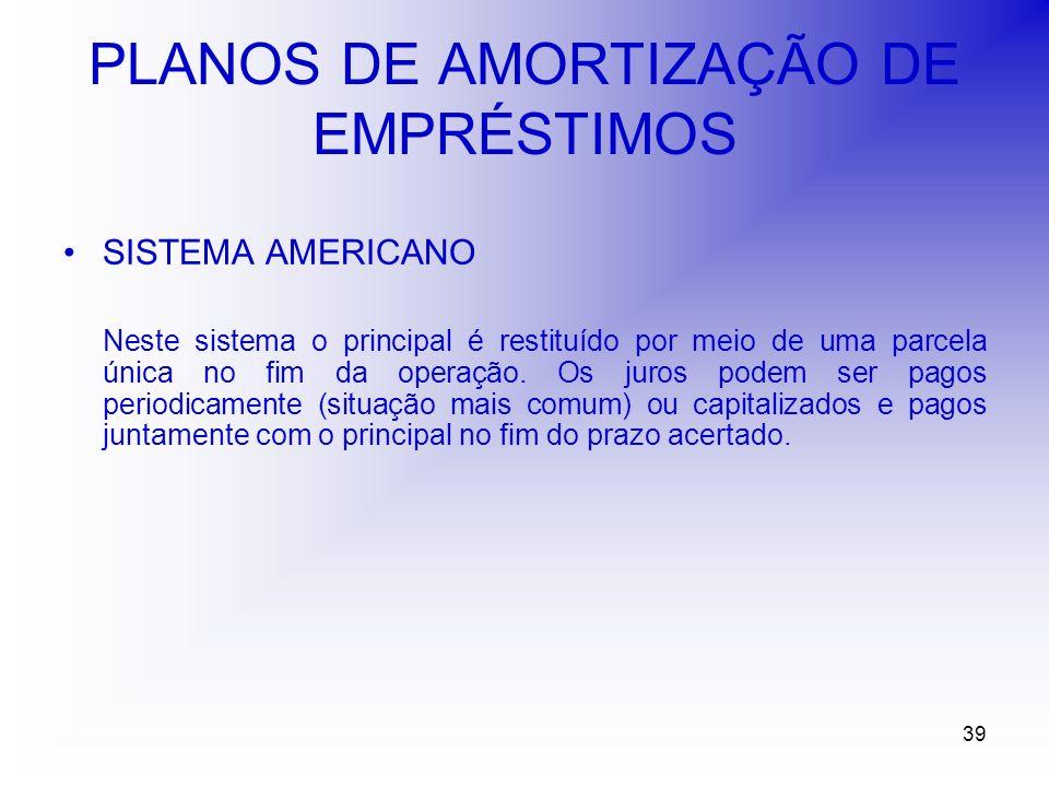 39 PLANOS DE AMORTIZAÇÃO DE EMPRÉSTIMOS SISTEMA AMERICANO Neste sistema o principal é restituído por meio de uma parcela única no fim da operação.