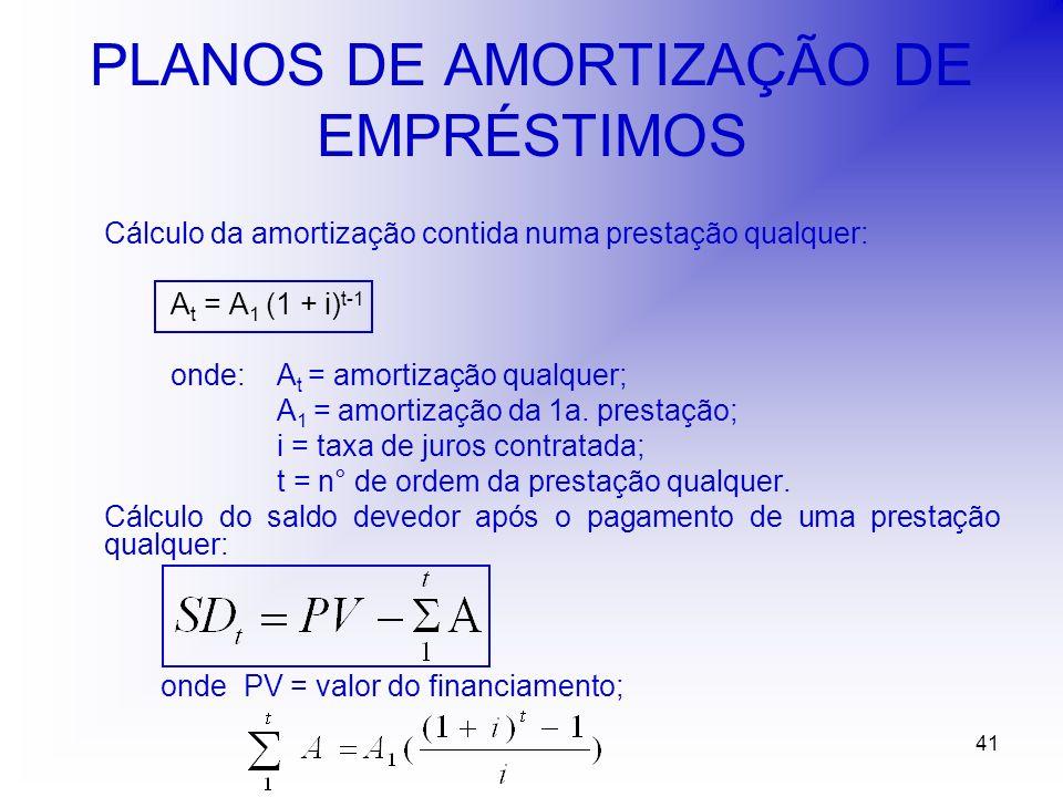 41 PLANOS DE AMORTIZAÇÃO DE EMPRÉSTIMOS Cálculo da amortização contida numa prestação qualquer: A t = A 1 (1 + i) t-1 onde: A t = amortização qualquer; A 1 = amortização da 1a.