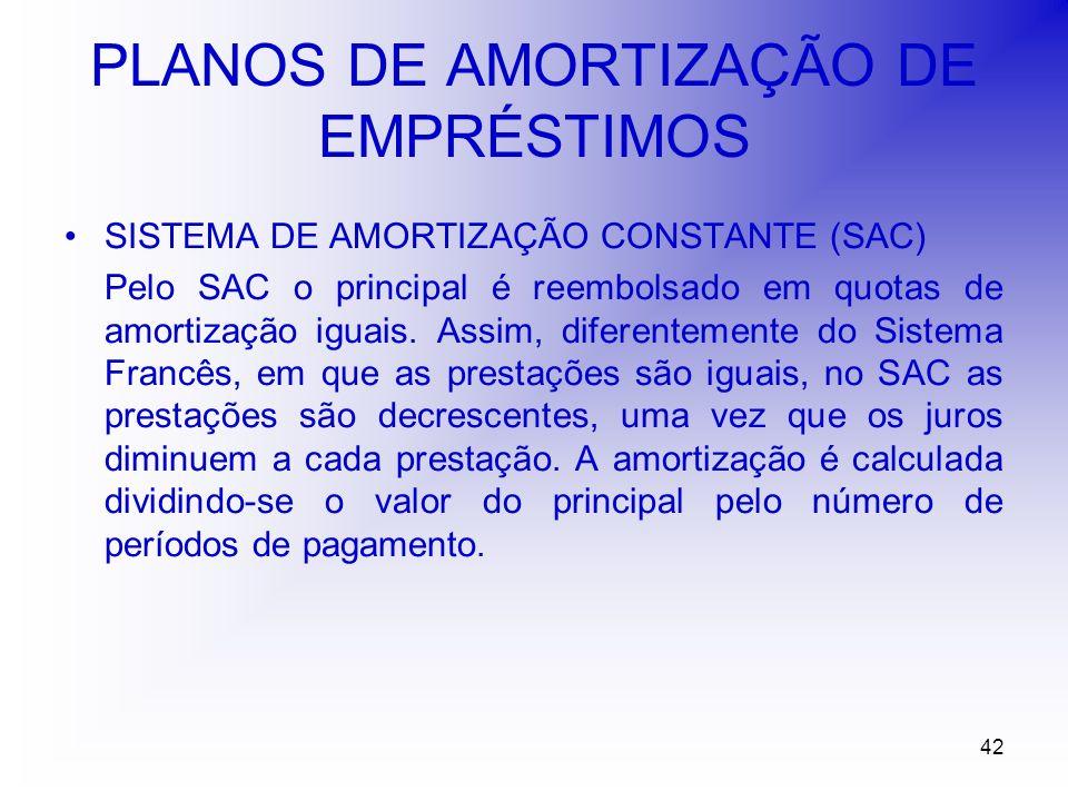42 PLANOS DE AMORTIZAÇÃO DE EMPRÉSTIMOS SISTEMA DE AMORTIZAÇÃO CONSTANTE (SAC) Pelo SAC o principal é reembolsado em quotas de amortização iguais.