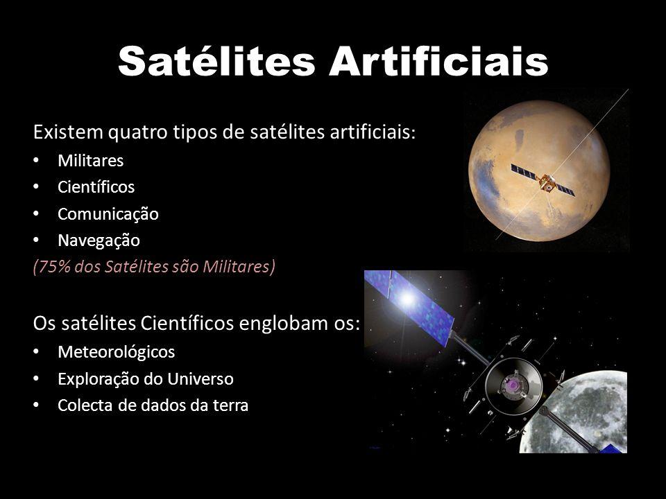 Satélites Artificiais Existem quatro tipos de satélites artificiais : Militares Científicos Comunicação Navegação (75% dos Satélites são Militares) Os