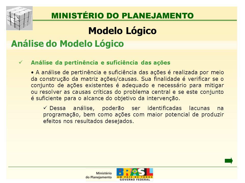 MINISTÉRIO DO PLANEJAMENTO Modelo Lógico Análise da pertinência e suficiência das ações A análise de pertinência e suficiência das ações é realizada p