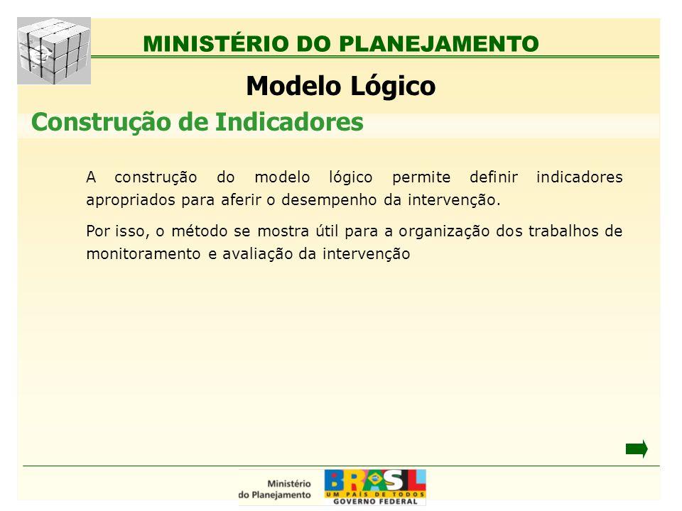 MINISTÉRIO DO PLANEJAMENTO Modelo Lógico A construção do modelo lógico permite definir indicadores apropriados para aferir o desempenho da intervenção