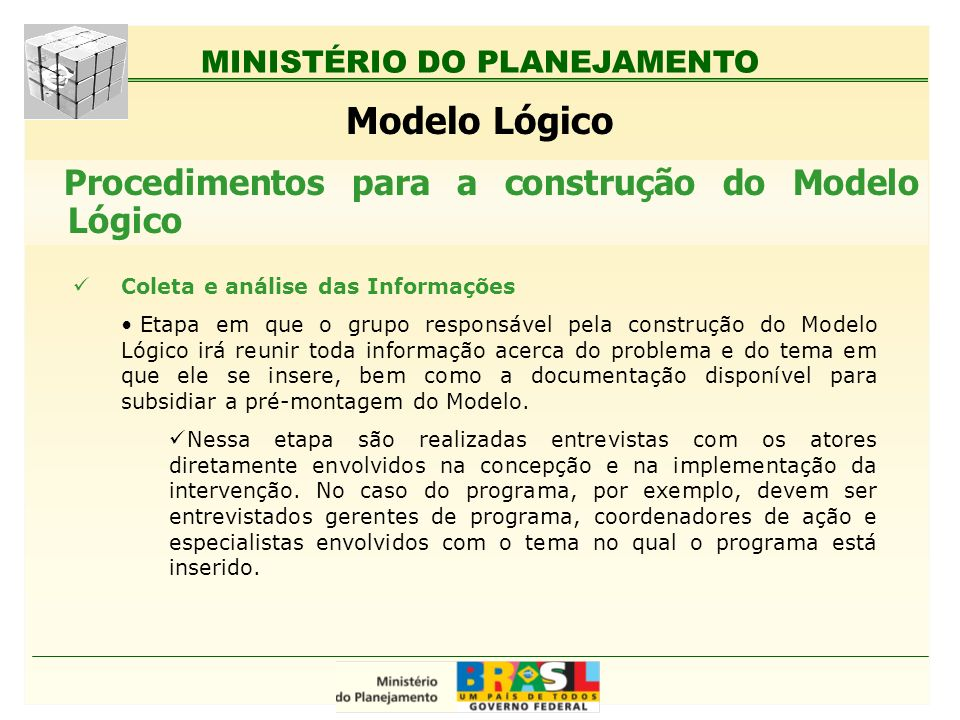 MINISTÉRIO DO PLANEJAMENTO Modelo Lógico Coleta e análise das Informações Etapa em que o grupo responsável pela construção do Modelo Lógico irá reunir