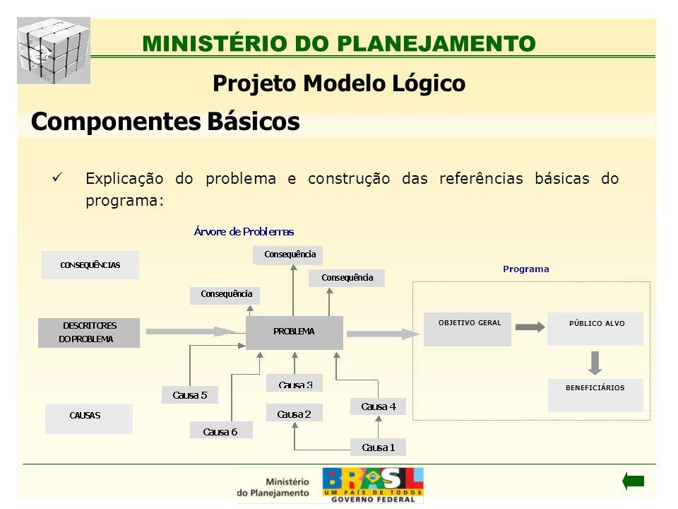 MINISTÉRIO DO PLANEJAMENTO Explicação do problema e construção das referências básicas do programa: Componentes Básicos Projeto Modelo Lógico Programa