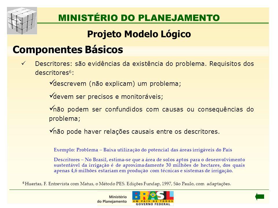MINISTÉRIO DO PLANEJAMENTO Projeto Modelo Lógico Descritores: são evidências da existência do problema. Requisitos dos descritores 6 : descrevem (não